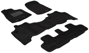 Трехслойные коврики Sotra 3D Premium 12mm Black для Toyota Land Cruiser Prado (J150)(1-2-3 ряд) 2009-2017